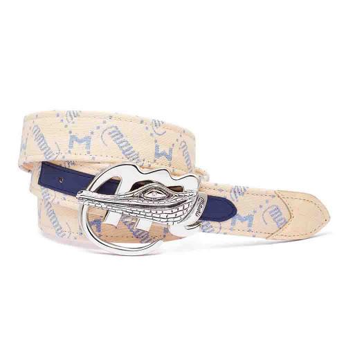 Mauri Blue & Cream Fabric Mauri Logo Matching Belt