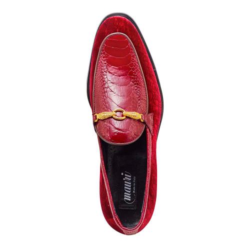 Mauri Baron Ruby & Red Ostrich Leg & Embossed Velvet Mens Loafer