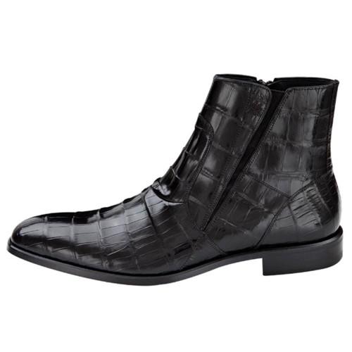 Belucci By Mezlan In Black Genuine Alligator Skin Boots