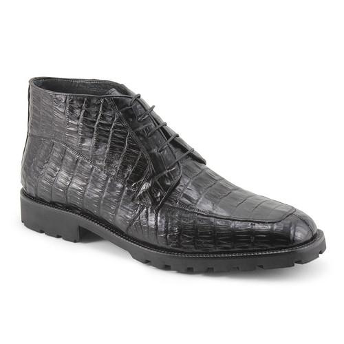 Black Genuine Caiman Crocodile Belly Ankle Boot By Los Altos
