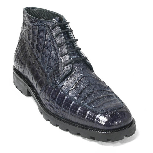 Navy Genuine Caiman Crocodile Belly Ankle Boot By Los Altos