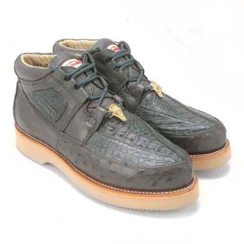 Los Altos Grey Genuine Caiman & Ostrich Casual Sneaker
