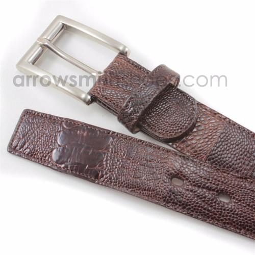 Belvedere Brown Genuine Ostrich Leg Dress Belt