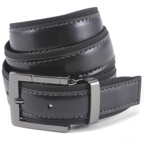 Avanti Black Fabric & Italian Leather Dress Belt