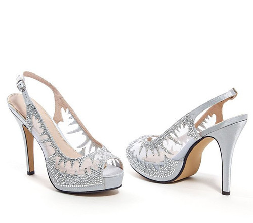 c0276805b81 Lady Couture Dream Silver Jeweled Mesh Sling Back Heels