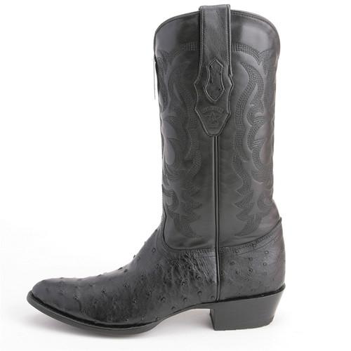 c0c535a4edd Los Altos Black Round Toe Genuine Ostrich Skin Boots