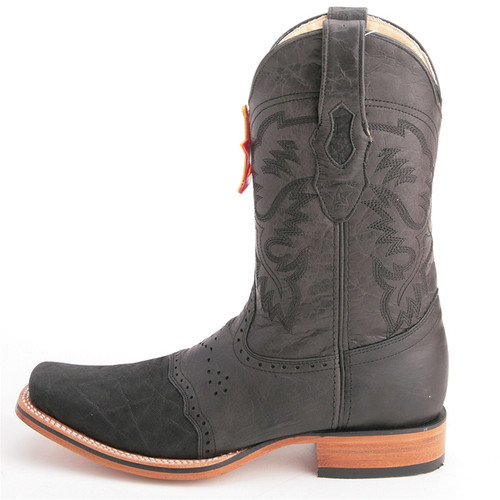 entire collection low cost on feet shots of Los Altos Black Wide Toe Boots Genuine Elephant Skin
