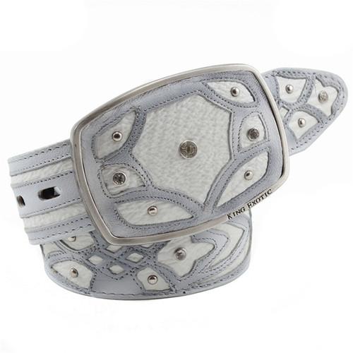 King Exotic Belt Authentic White Sharkskin