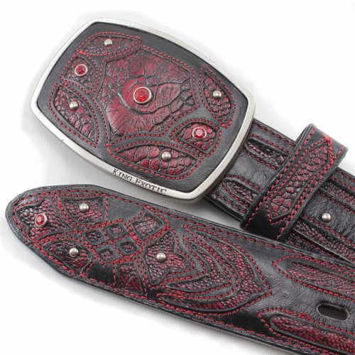 King Exotic Black Cherry Belt Genuine Ostrich