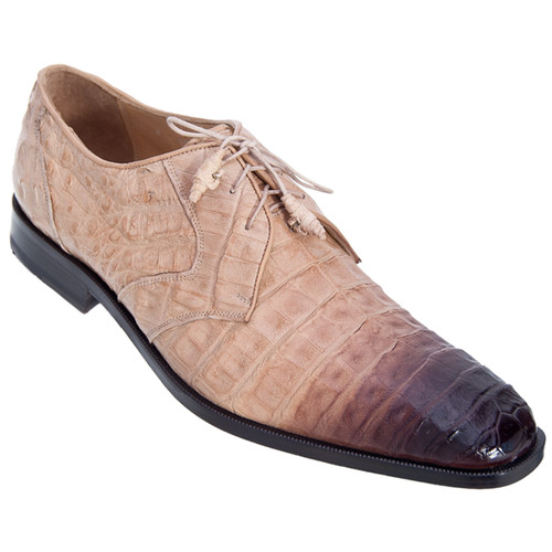 Los Altos Taupe 2 Tone Genuine Caiman Belly Lace Up