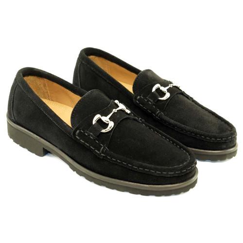 Alan Payne Wharton Black Suede Bit Loafers