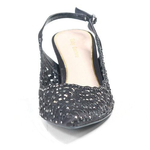 Lady Couture Jewel Black Fabric Heels