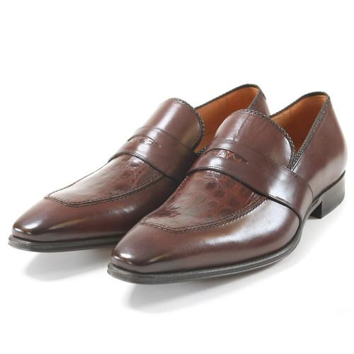 Mezlan Lambert Brown Genuine Crocodile Skin and Calfskin Leather Slip-Ons
