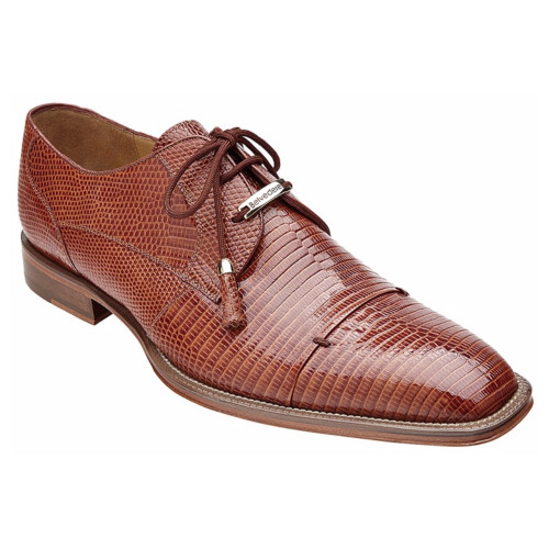 Belvedere Karmelo Tan  Genuine Lizard Skin Men's Lace-up Shoes
