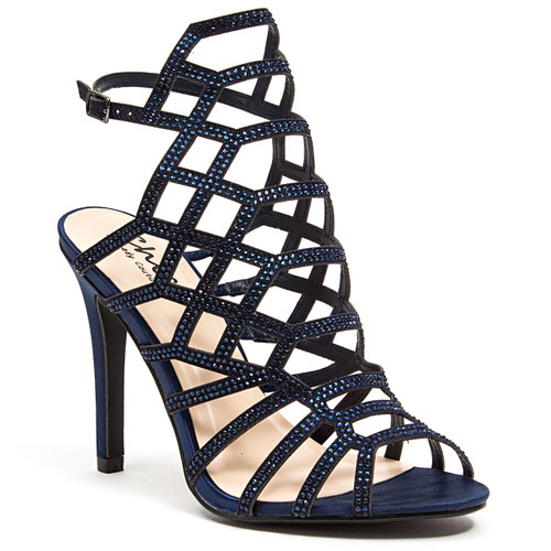4840665945d Lady Couture Kent Navy Embellished Fabric Gladiator Heels