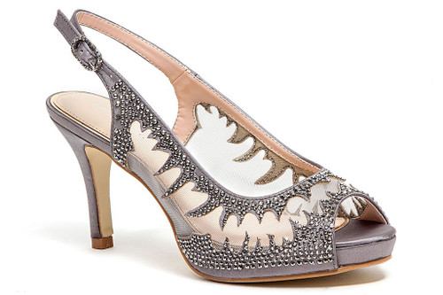 Lady Couture Spicy Gray Embellished Fabric Dress Pumps