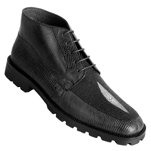 Los Altos Black Genuine Stingray & Lizard Skin Demi Boots
