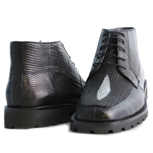 Black Genuine Lizard & Stingray Ankle Boot By Los Altos