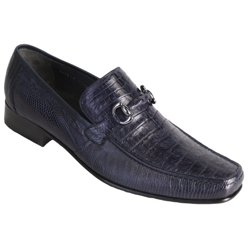 Navy Genuine Caiman Belly & Lizard Slip On By Los Altos