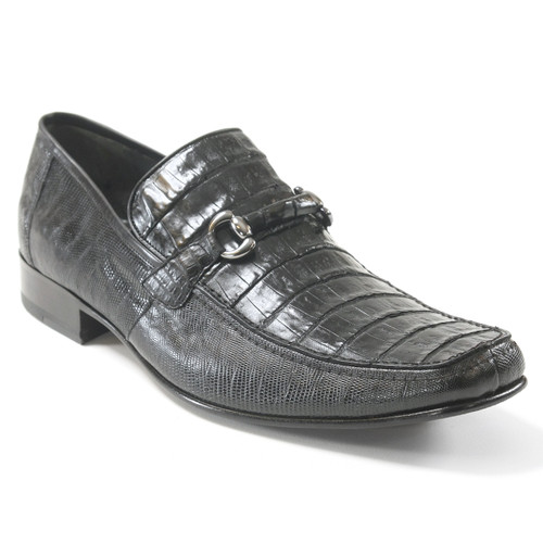 Black Genuine Caiman Belly & Lizard Slip On By Los Altos