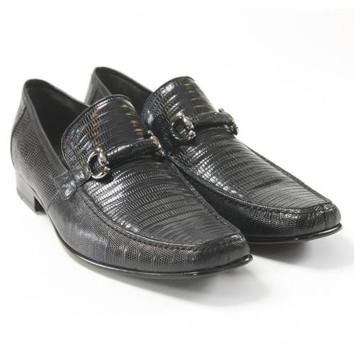 Los Altos Black Genuine Teju Lizard Skin Slip-ons