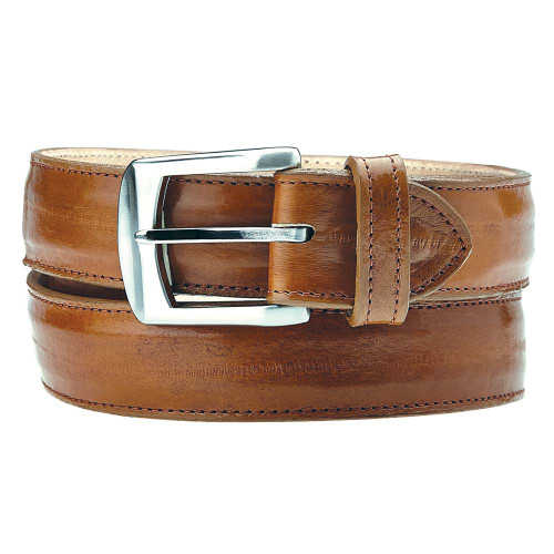 Belvedere Camel Genuine Eel Skin Dress Belt