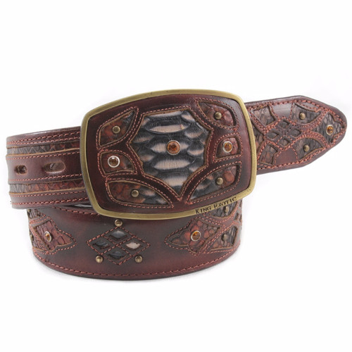 King Exotic Rustic Belt Genuine Python Skin