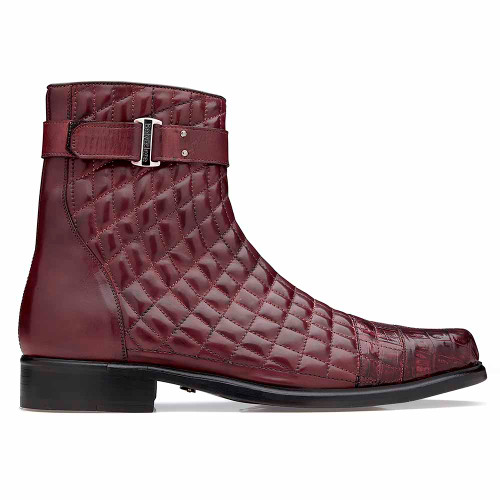 Belvedere Libero Wine Caiman Crocodile& Quilted Leather Boots