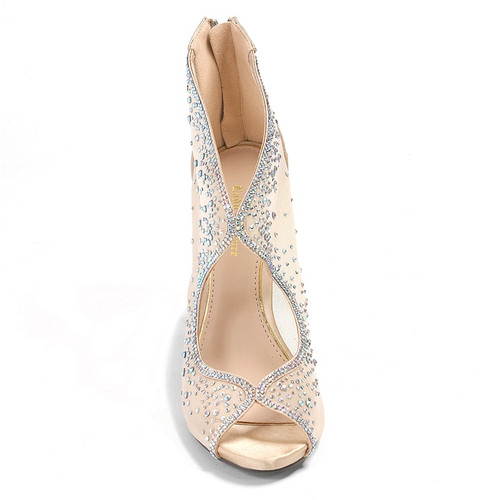 Lady Couture Bonita Champagne Embellished Fabric Heels