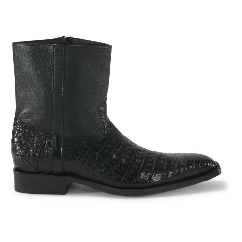 b2e283aebef Los Altos Black Genuine Caiman Ankle Boots