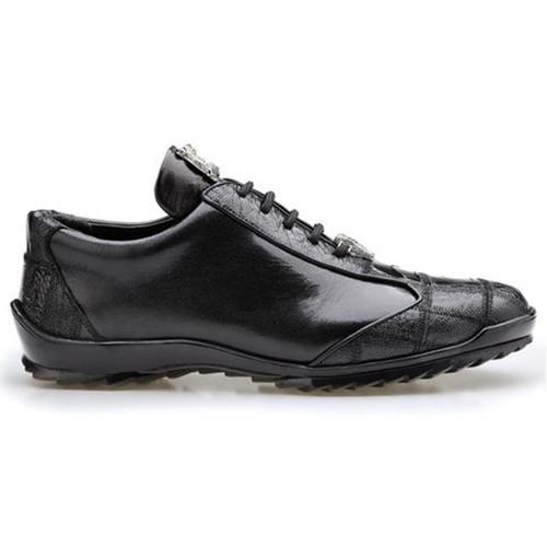 Belvedere Paulo Black Ostrich & Calfskin Leather Sneakers