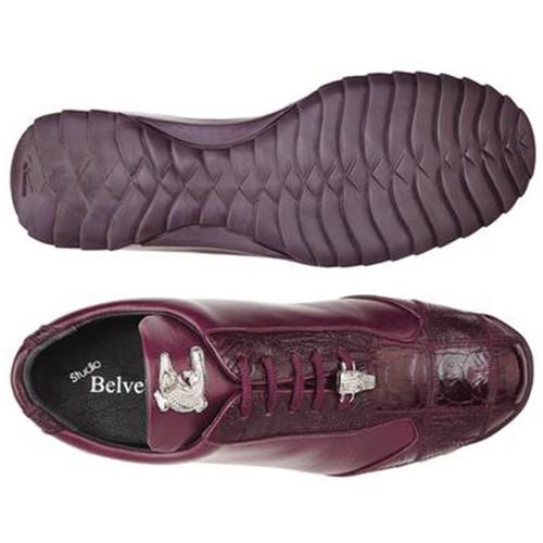 Belvedere Paulo Burgundy Ostrich & Calfskin Men's Sneakers
