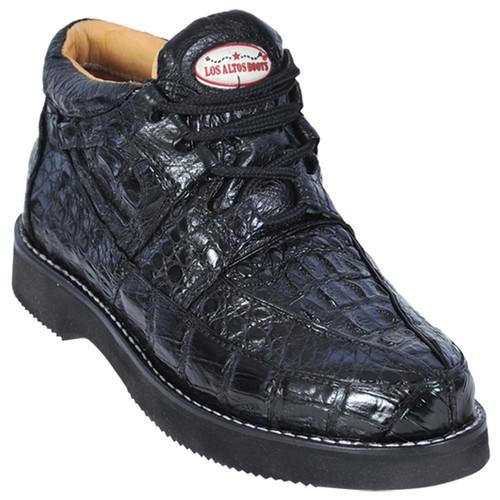 Los Altos Black Genuine Caiman Casual Boot