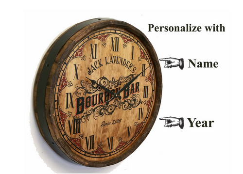 Personalized Bourbon Bar Quarter Barrel Clock