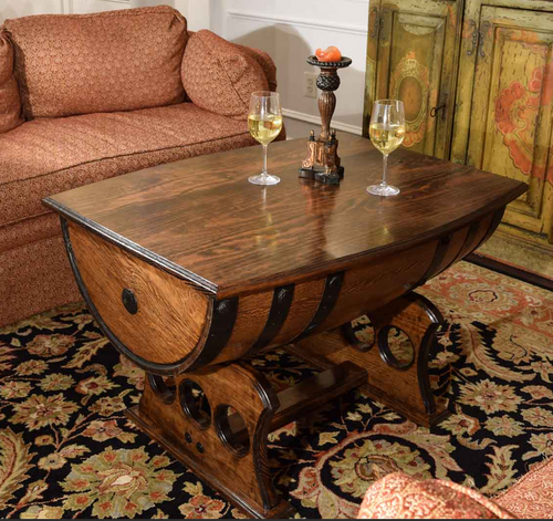 Reclaimed Whiskey Barrel Table with Solid Top