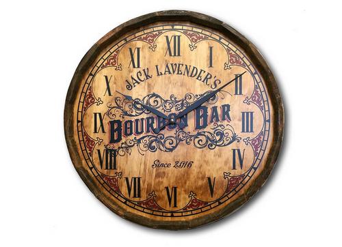 Personalized Bourbon Bar Quarter Barrel Clock