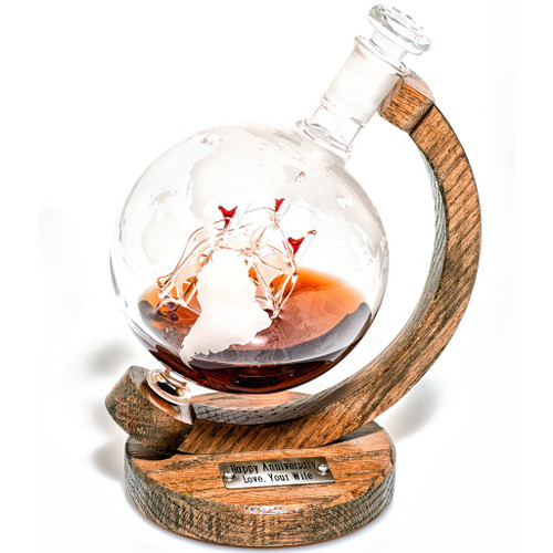 Etched Globe Decanter With Ship Inside - 1000ml (Magellan's Victoria) (SOLD OUT)
