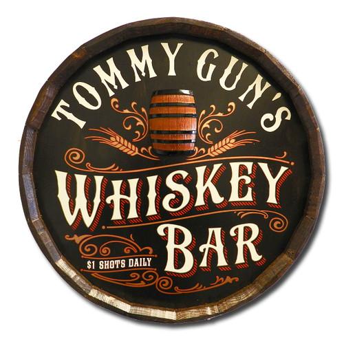 Whiskey Bar Personalized Quarter Barrel Sign