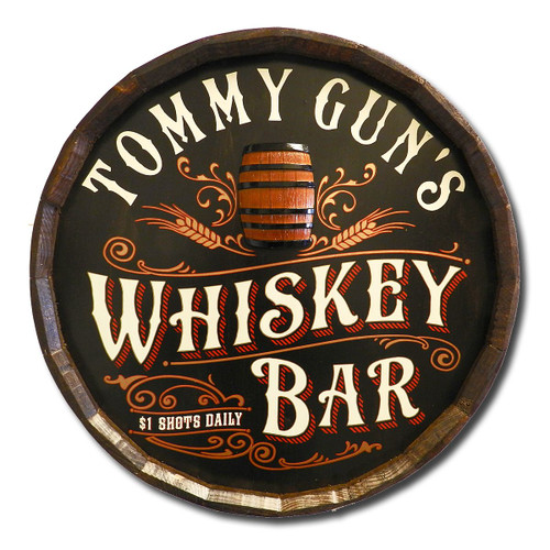 Whiskey Bar Personalized Quarter Barrel Sign
