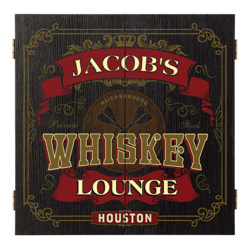 Personalized Whiskey Lounge Dartboard & Cabinet Set