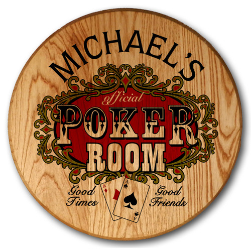 Personalized Barrel Head Poker Sign