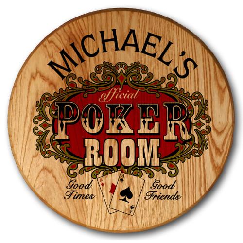 Personalized Barrel Head Poker Sign