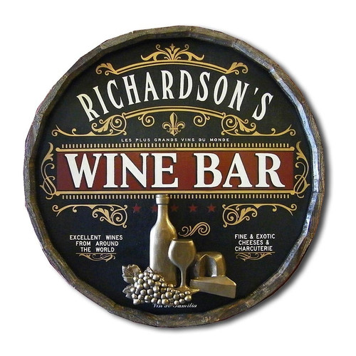 Personalized Wine Bar Quarter Barrel Sign