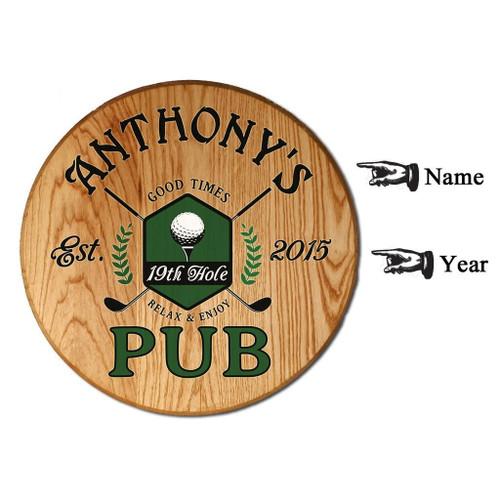 Personalized 19th Hole Pub Barrel Head Sign