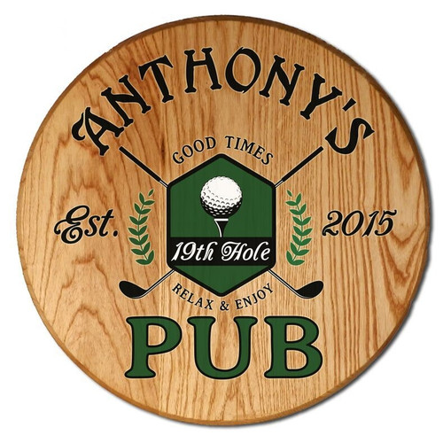 Personalized 19th Hole Pub Barrel Head Sign