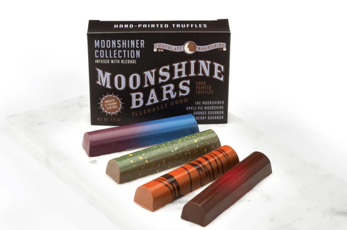 """Distillery"" 4 Pack Moonshine Chocolate Truffle Bars (Moonshiner, Barrel Aged Bourbon, Rum Runner, Black Cherry Bourbon)"