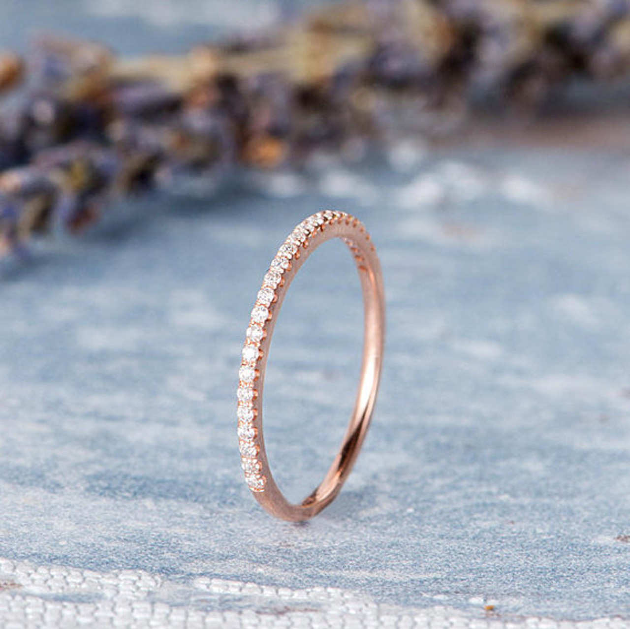 4d53855e0c101 Rose Gold Wedding Band Diamond Ring Half Eternity