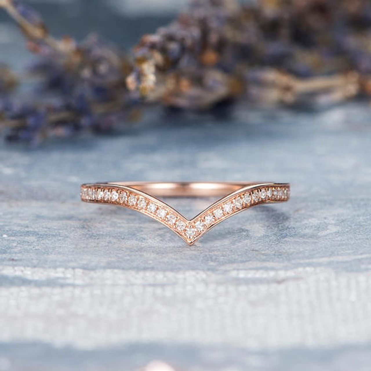 Rose Gold Wedding Band Women V Shaped Ring Chevron Ring Diamond