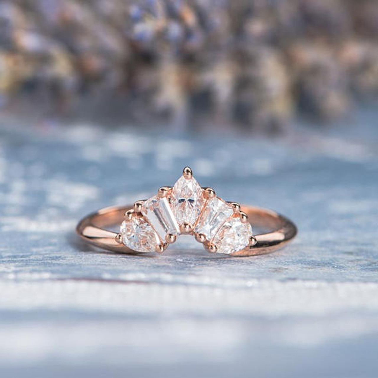 Unique Rose Gold Wedding Band Women Marquise Tapered Baguette Pear