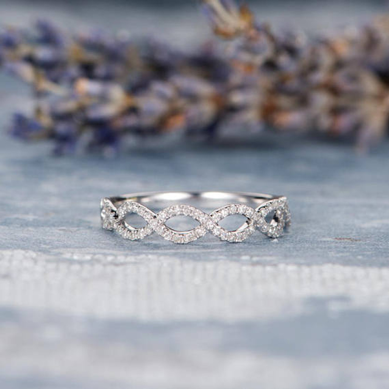 Unique Wedding White Gold Band Women Stacking Wedding Ring Bridal Eternity Criss Cross Stacking Circle Bow Wave Dainty Anniversary Promise